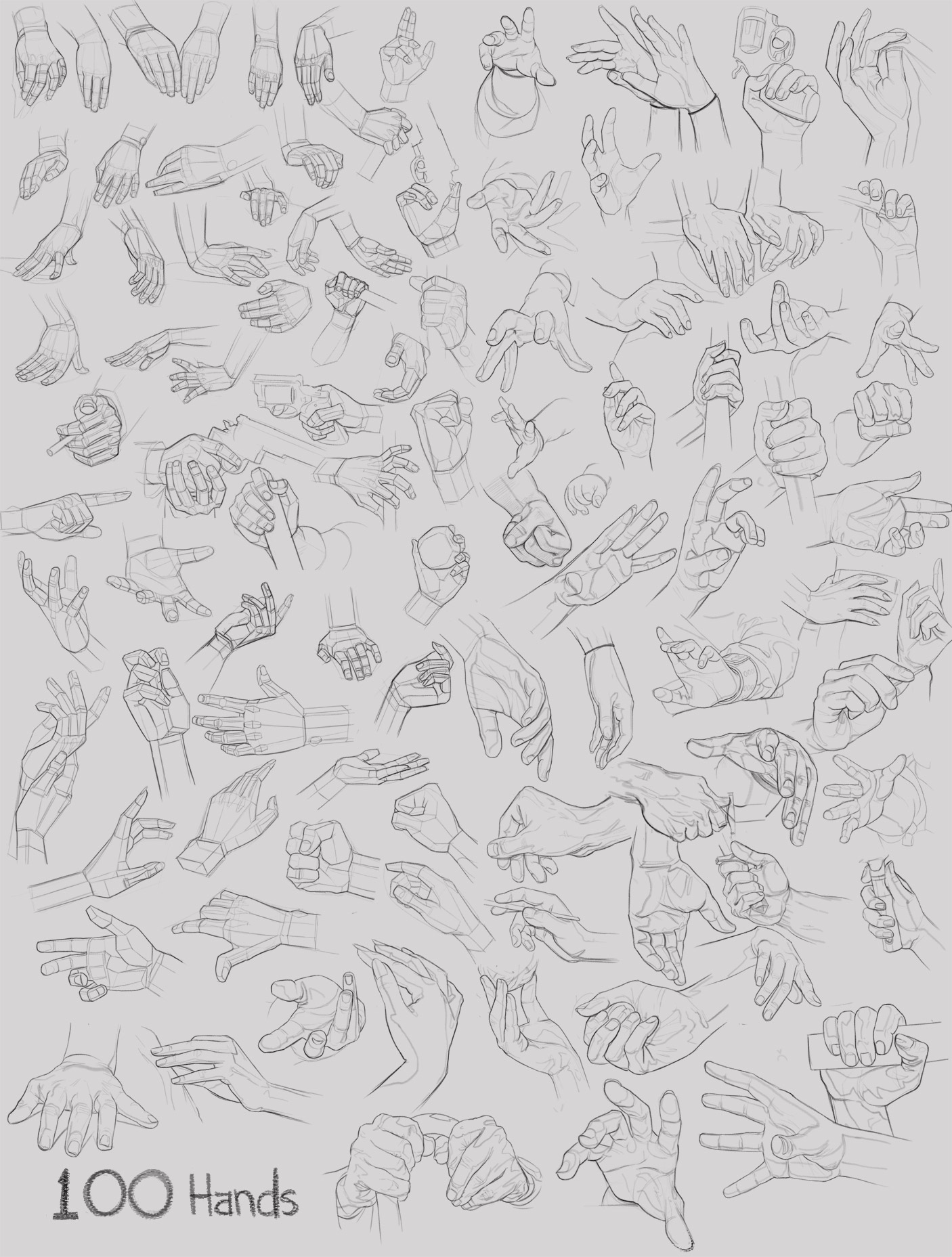 Studies of 100 hands.